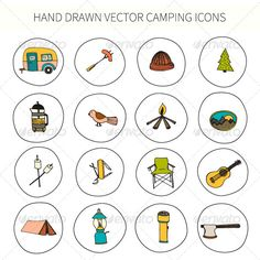 Camping Icons Hand Drawn in Vector — Transparent PNG #campsite #bird • Available here → https://graphicriver.net/item/camping-icons-hand-drawn-in-vector/7123452?ref=pxcr