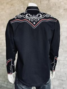 NWT Boys// Mens Snapfront Dance shirt Black Dots Collar 50/'s feel 3 colors Dance