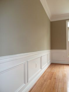 Sandy Hook Gray interior with judges' paneling and natural red oak floor ~ nice! Red Dining Room, Interior, Home, Paint Colors For Home, Cozy House, New Homes, Red Oak Floors, Natural Oak Flooring, Judges Paneling