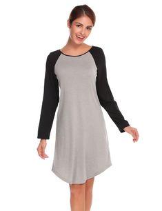a041656bd8 Ekouaer Women Casual Nightgowns Sleepwear Dress O-Neck Long Sleeve Patchwork  Round Hem Loose Nightshirt