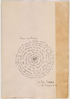 "¤ Tristan Tzara : ""La rose et le chien"" Letter of perpetual friendship by Tristan Tzara to Picasso. Tristan Tzara, Dada Artists, Mail Art, Bookbinding, Oeuvre D'art, Collages, Hand Lettering, Letters, Illustrations"