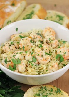 Lemon Pepper Shrimp Scampi with Orzo.double everything except shrimp and use only 1 cups orzo, add crushed red pepper and parmesan cheese to taste. Fish Recipes, Seafood Recipes, Dinner Recipes, Cooking Recipes, Healthy Recipes, Cookbook Recipes, Seafood Dishes, Pasta Dishes, Lemon Pepper Shrimp