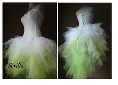 SEVILLA white and lime wedding dress Tulle by AtelierArtistia