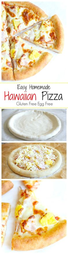 Hawaiian Pineapple Pizza (gluten free egg free)- Combine salty and sweet with an unbelievable puffy gluten free pizza crust