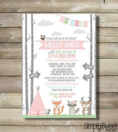 Girl Baby Shower Invite Invitation Oh Baby by SimplySweetPrintShop