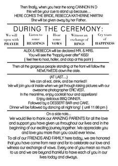Rustic Wedding Programs, Wedding Ceremony Script, Wedding Music, Wedding Speeches, Wedding Table, Funny Wedding Programs, Wedding Reception, Funny Wedding Vows, Wedding Ceremony Readings
