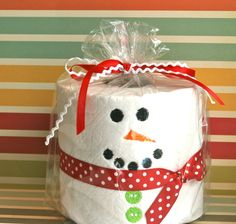 Embroidered, Personalized, Toilet Paper, Gift, White Elephant- Snowman. $8.00, via Etsy.