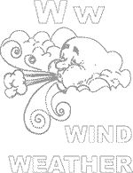 Perfect for this week's weather! Letter W coloring page, windy weather printable