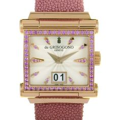 De Grisogono Instrumento Grande Pink Sapphire Watch Grande ($27,050) ❤ liked on Polyvore featuring jewelry, watches, skeleton watches, dress watches, automatic movement watches, analog wrist watch and bezel jewelry