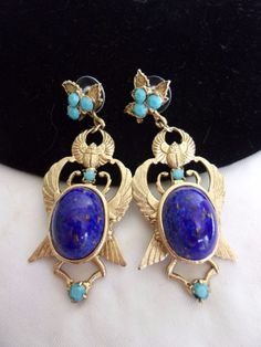 MISS ELLIE NYC Egyptian Scarab Lapis Blue Earrings Gold Plate Glass Turquoise #MissEllieNYC #Vintage