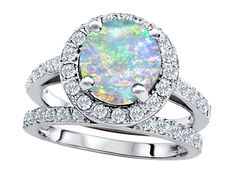 Original Star K™ 8mm Round Created Opal Engagement Wedding Set