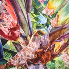 """""""Banana Trees Series 21"""" by Christine Cozic. Watercolor/Paper"""