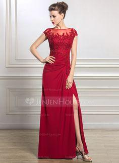 Tubo Decote redondo Longos De chiffon Vestido para a mãe da noiva com Pregueado Bordado Apliques de Renda Lantejoulas Frente aberta (008056834)