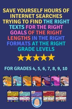 Grade-Specific Workbooks for Grades 4-12 English language arts, including standardized questions that assess reading, writing, language, viewing, listening, literacy in science and social studies and history standards. 1-page front-to-back high-interest passages paired with targeted tasks or practice tests. Easy-print printables for in-person learning AND digital versions for easy remote learning. Middle School Ela, Middle School English, High School, 4th Grade Reading, Student Reading, 8th Grade Ela, First Year Teachers, English Language Arts, School Lessons