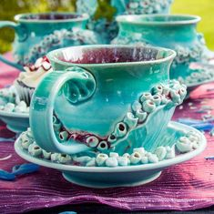 Nautical Mermaid Saucer Tea Cup Set by Amanda Eccleston, ClayChimera Tea Cup Set, Teapots And Cups, Tea Mugs, Cup And Saucer, The Little Mermaid, Tea Time, Biscuit, Coffee Cups, Pottery