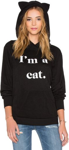 Wildfox Black I'm A Cat Hoodie From Revolve Clothing US