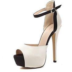 Damenschuhe+-+Sandalen+-+Kleid+-+Kunstleder+-+Stöckelabsatz+-+Plateau+-+Beige+–+EUR+€+29.39