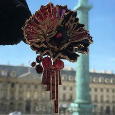 Lovely!! Brooch of pink gold & lacquer with rhodolite garnets, rubies, diamonds