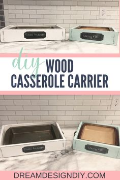 Make your own DIY Wood Casserole Tray. This wooden tray is the perfect size to fit a 9 x 13 or 9 x 9 dish. Display your food at home or when you bring a dish to a friend's house. The chalkboard label is a perfect way to label the food item. You could possibly make this from scrap wood if you enough on hand. #casseroletray #diy #woodprojects #scrapwood #chalkboardlabel Crafts To Do, Wood Crafts, Casserole Carrier, Chalkboard Labels, Diy Holz, Simple Rules, Basket Decoration, Ceiling Decor, Casserole Dishes