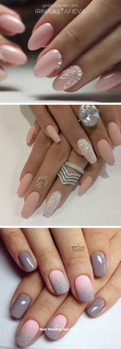 35 Simple Ideas for Wedding Nails Design nailartid Simple Wedding Nails, Natural Wedding Nails, Wedding Nails Design, Natural Nails, Wedding Hair, Wedding Dresses, Ivory Nails, Engagement Nails, Modern Nails
