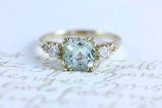 gorgeous green amethyst and diamonds by itsalittlething on Etsy  This but in white gold please