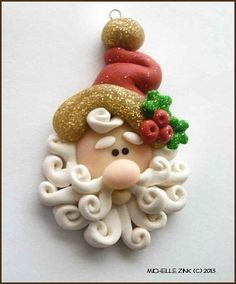 NEW Polymer Clay Pendant Charm Santa with by michellesclaybeads