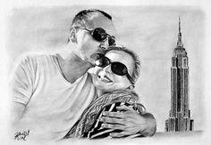 Drawing - kresba portrét páru