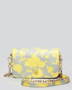 Grey yellow floral purse