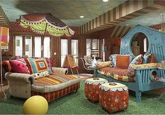Forget the babies -- I want this for my playroom!  Bohemian Play Room: cool pattern mix
