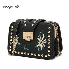 85dba961927c3 longmiao Small Multi Compartment Stud PU Leather Women Crossbody Bags Rivet  Vintage Embroidered Flower Designer Messenger