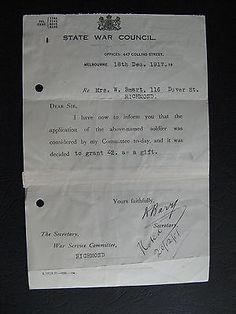 WW1 ANZAC SERVICEMAN W Smart 116 Dover St Richmond