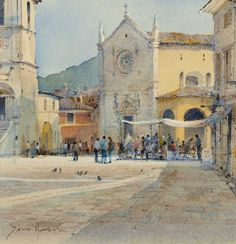 "David Howell (English) ""Piazza San Benedetto, Norcia, Umbria"" ~ watercolor"