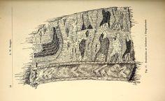 """1921 sketch by Sofie Krafft of the Haugen tapestry. Image from: A.W.Brøgger. 1920-21 """"Rolvsøyætten. Et arkeologisk bidrag til vikingetidens historie"""" _Bergens Museums Aarbok_;1-42 https://archive.org/details/bergensmuseumsa192021berg"""