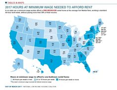 A new report from the National Low Income Housing Coalition shows just how hard it can be to afford rent while making the minimum wage—even in states like Washington, where our minimum wage is higher than the federal minimum. 1 Bedroom Apartment, One Bedroom, 40 Hours A Week, Consumer Math, Political Spectrum, Thing 1, Minimum Wage, Interactive Map, Social Issues