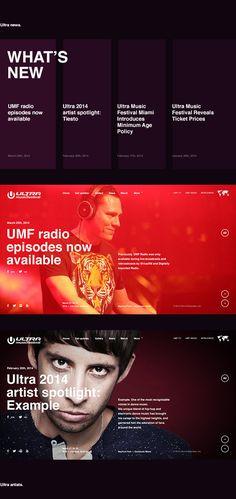 Website design for interactive music website ultra music festival on Ultra Music Festival, Festival Off, Festival List, Music Festivals, Festival Websites, Concerts, Banner Design, Layout Design, Design Design