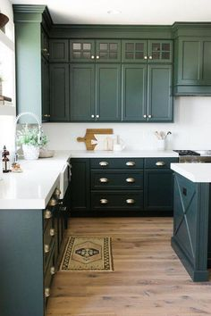 Green Cabinets In Kitchen Beautiful Green Kitchen Cabinet Inspiration Bless Er House Dark Green Kitchen, Green Kitchen Cabinets, Farmhouse Kitchen Cabinets, Kitchen Cabinet Colors, Painting Kitchen Cabinets, Floors Kitchen, Diy Kitchen, Kitchen Backsplash, White Cabinets