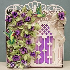 Petunia And Hummingbird Window project w/ Classic Petunia collection from Heartfelt Creations.