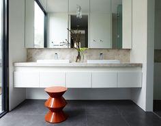 Dark gray floor tiles