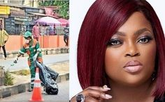 Funke Akindele Seen on the Street of Lagos Carrying out Community Service - MEDIA Nigerian Government, Nigeria News, Trend News, State Government, Community Service, Actresses, Street, Tips, Advice