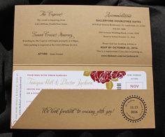 Tan, Red & Gold Roses & Swirls Boat Cruise Boarding Pass Wedding Invitations Invitation Card Printing, Passport Invitations, Nautical Wedding Invitations, 40th Birthday Invitations, Invitation Design, Wedding Stationery, Party Invitations, 25th Birthday, Boat Wedding