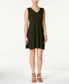 Style & Co Petite Crisscross-Back Fit & Flare Dress, Only at Macy's - Purple P/XL