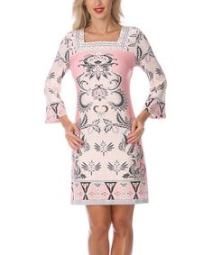 Another great find on #zulily! Ivory & Pink Embellished Square Neck Dress by White Mark #zulilyfinds