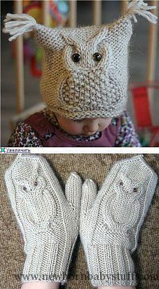 Baby Knitting Patterns Шапочка и варежки с совами спицами...