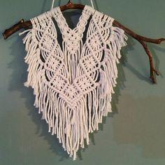 Fringe boho mini wall hanging. Handmade using soft cotton string