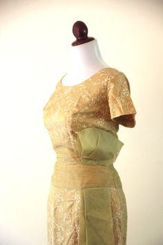 Vintage 1950s Gold Embroidered Wiggle Dress by RetroKittenVintage, $65.00