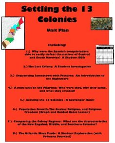 Settling the 13 Colonies - A Unit Full of Engaging, Student-Centered Activities!
