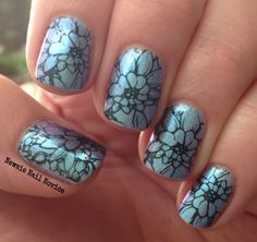 Floral stamping over Indigo Bananas Maui Wowee, MoYou Pro Plate 06