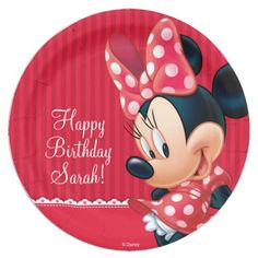 Minnie Red and White Birthday Paper Plate  sc 1 st  Pinterest & Disco Ball Princess Coach \u0026 Horses Wedding Paper Plate | Teal ...