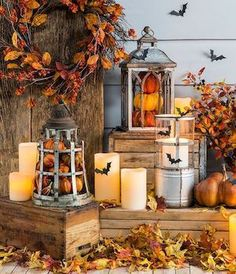 Check out these cheap and easyfall porch ideas that will give your front porch a cozy and inviting makeover. These budget-friendly ideas will give you some inspiration for how to decorate your porch withpumpkins, gourds, corn stalks, hay bales and much more! Fall Porch Signs Welcome Fall Sign pallet wood + large wood letters + … Porche Halloween, Fall Halloween, Happy Halloween, Outdoor Halloween, Creepy Halloween, Homemade Halloween, Halloween Signs, Halloween Stuff, Halloween Ideas