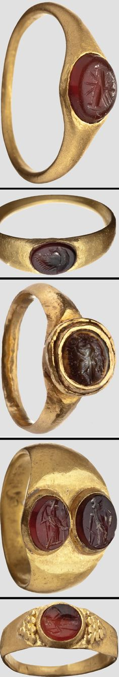 All fives gold rings are Roman and have carnelian gems and are from the century's 1st-3rd A.D.